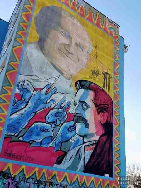 Jan Paweł II i Lech Wałęsa, R. Roskowiński - Murale na Osiedlu Zaspa