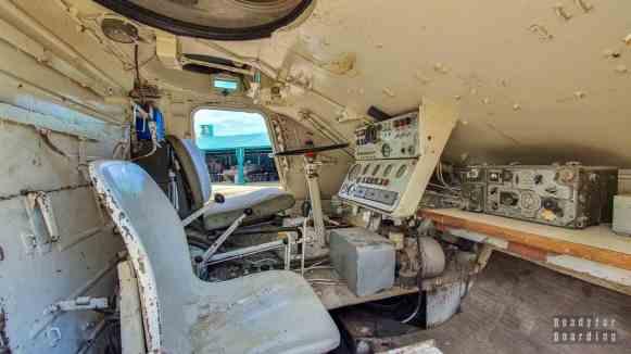 Wnętrze czołgu, Muzeum Sprzętu Wojskowego w Mrągowie, Mazury