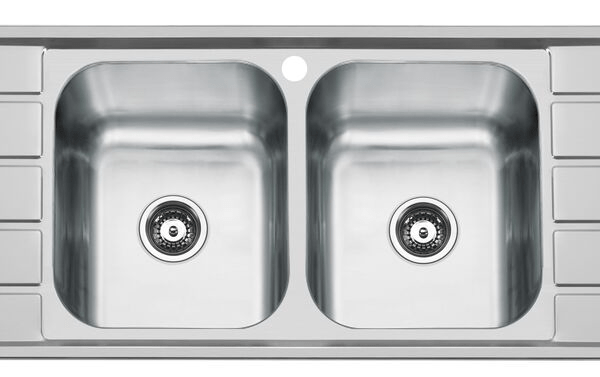 POSH Solus Mk3 Double Bowl Double Drainer Sink 1 Taphole Stainless Steel