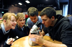 Playing with microscopes at the Darwin Centre, Pembrokeshire