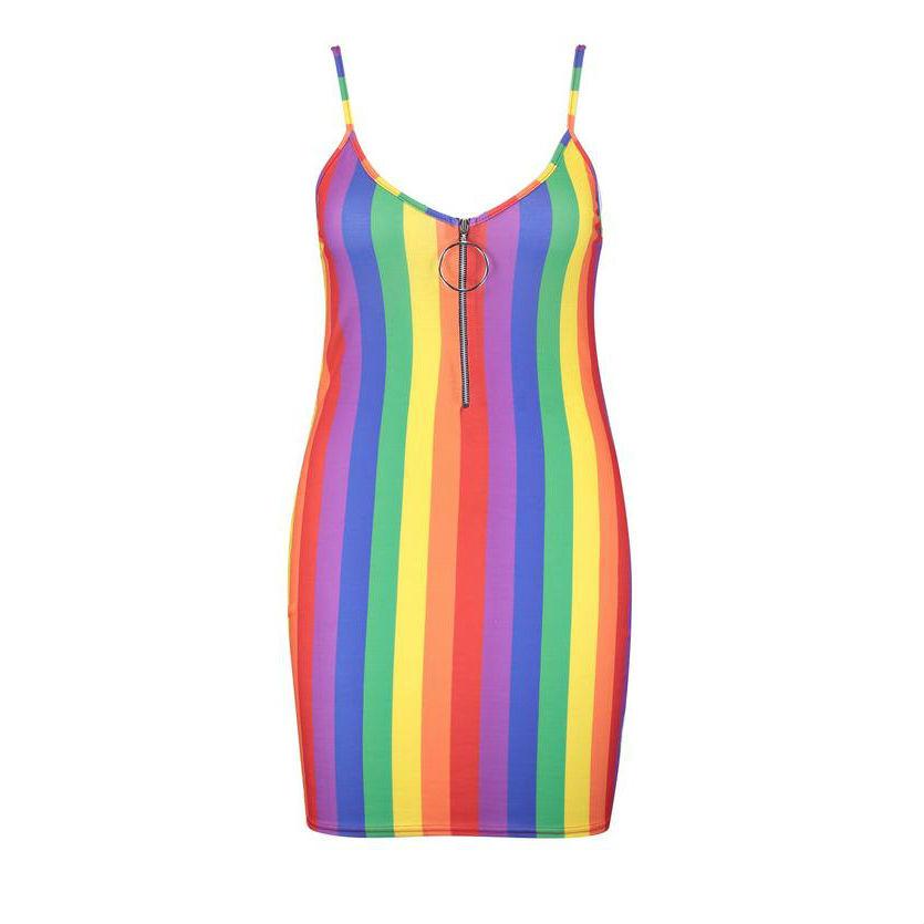 halter strap pride rainbow dress
