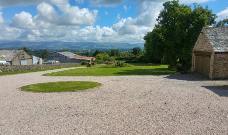 View from Yew Tree Farm over the front garden to the valley