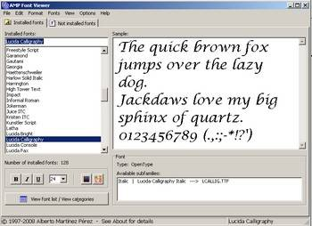 AMP Font Viewer - among the best free software