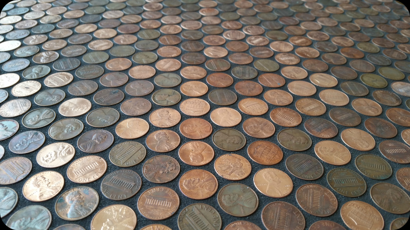 Black Grout on Real Penny Floor