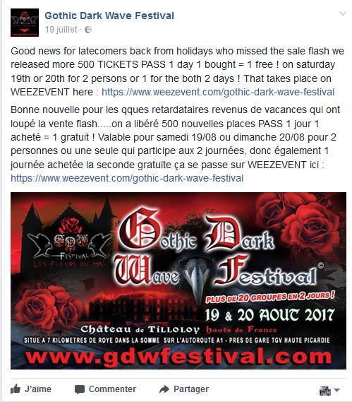 GDW Festival Braderie billets.