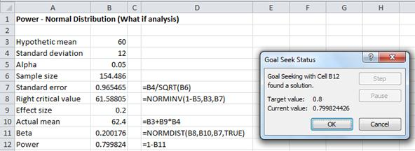 Sample size needed Excel