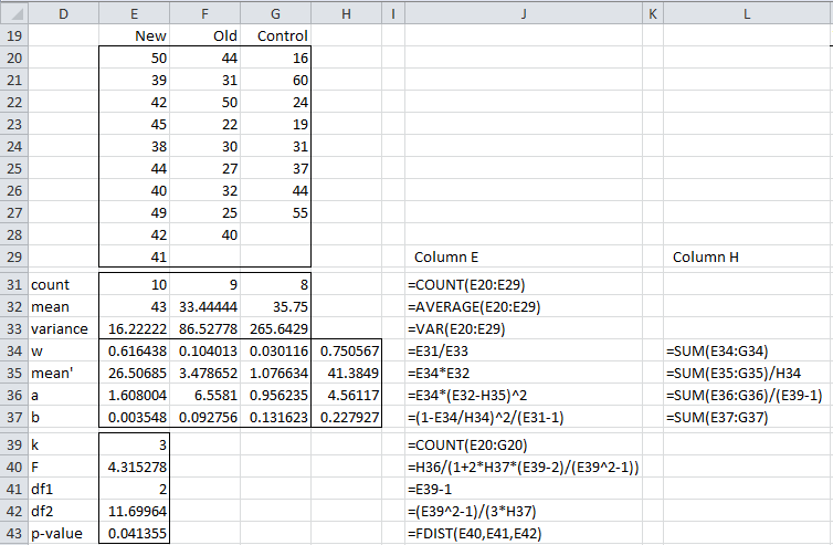 Welch's Test | Real Statistics Using Excel