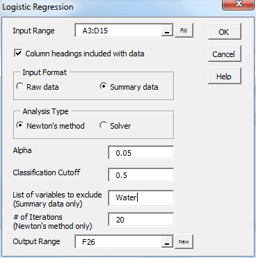 Logistic regression reduced dialog