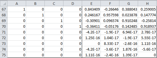 Rotation matrix Excel