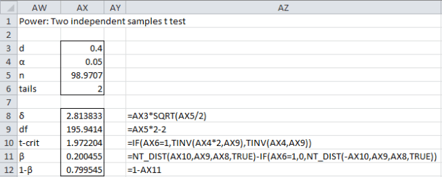 Sample size t test