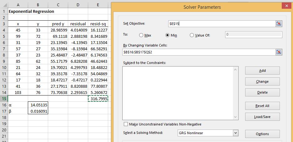 statistics solver exponential regression solver real statistics  exponential regression solver real statistics using excel figure 1 exponential regression via solver