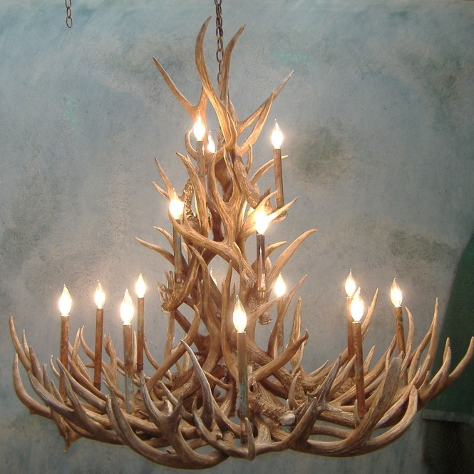 Peak Tall Spruce Mule Deer Antler Chandelier 18 Light