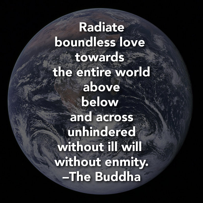 """""""Radiate boundless love towards the entire world — above, below, and across — unhindered, without ill will, without enmity."""" – The Buddha"""