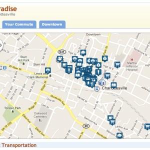 Walk Score of Charlottesville, Virginia