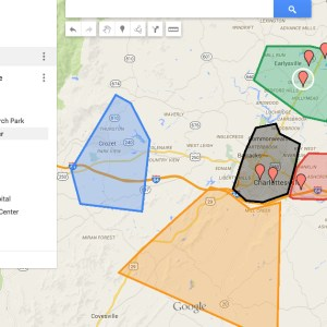 Map of the Areas of Charlottesville and Albemarle