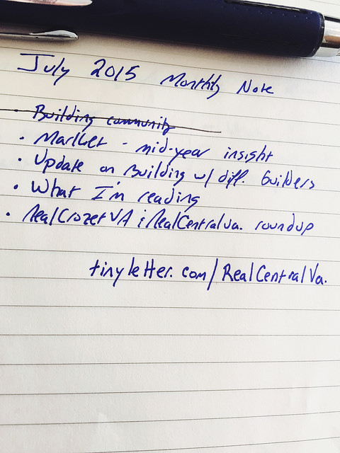 Jim's July 2015 Monthly Note
