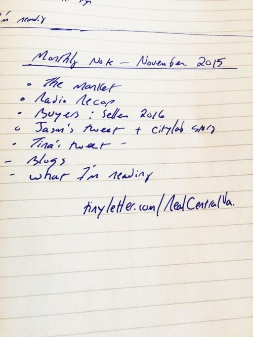 Jim Duncan's November's Monthly Note Outline