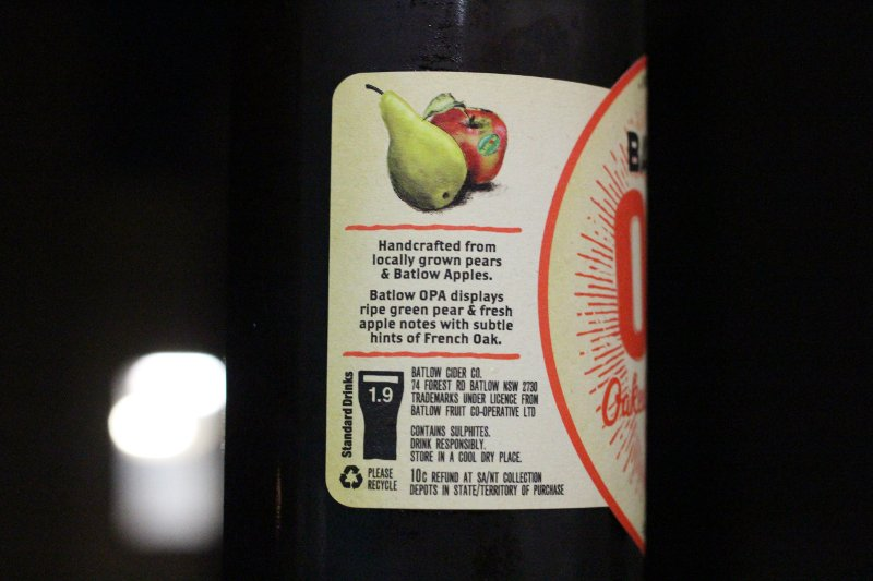 Batlow OPA side label