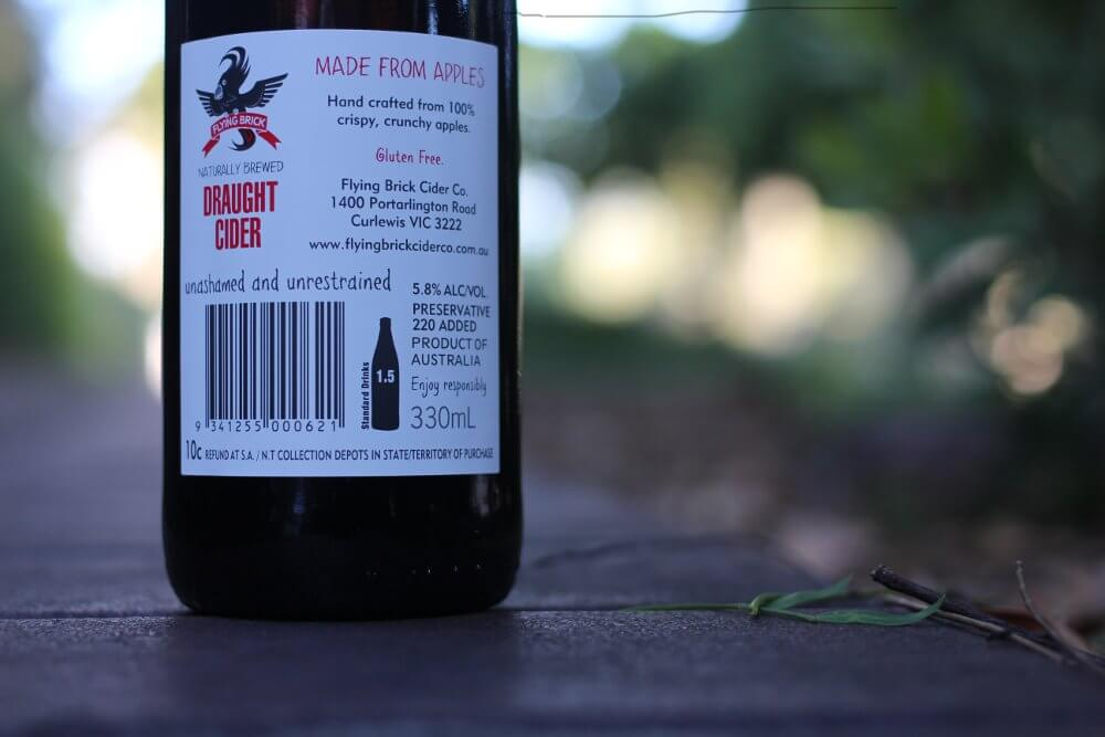 Flying Brick Draught Cider bottle label