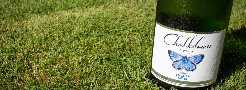 Chalkdown Cider 2015 bottle on lawn