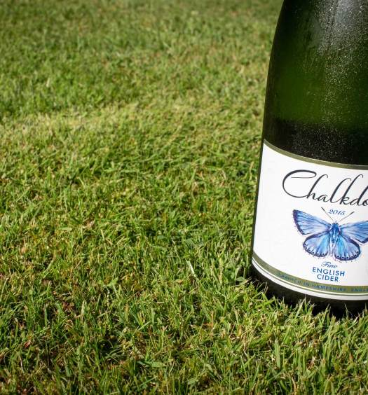 Chalkdown Cider 2015 bottle on lawn