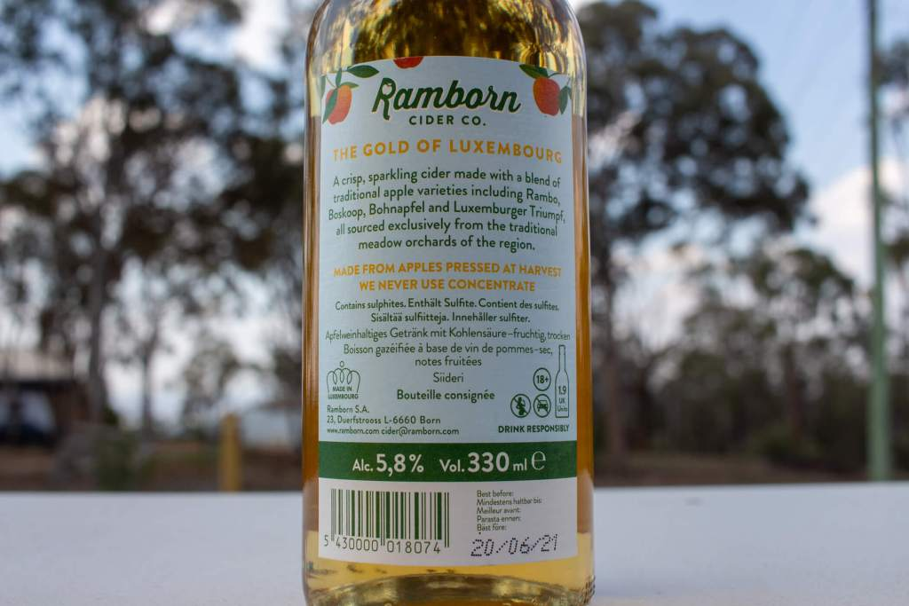 Ramborn Medium Dry Cider back label