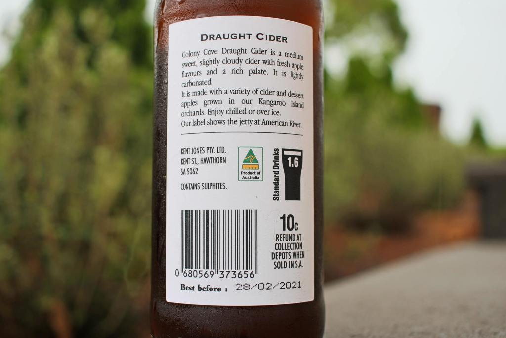 rear label of the Colony Cove Draught Cider - Kangaroo Island Ciders