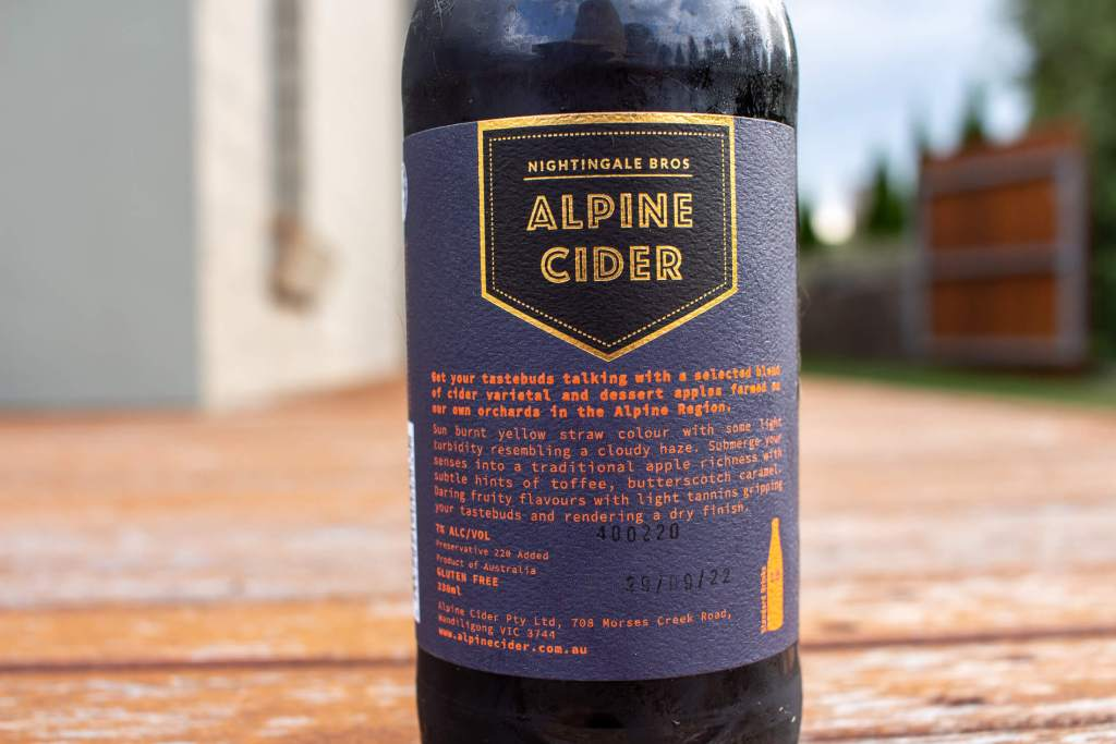 Rear label of a bottle of Alpine Cloudy Cider