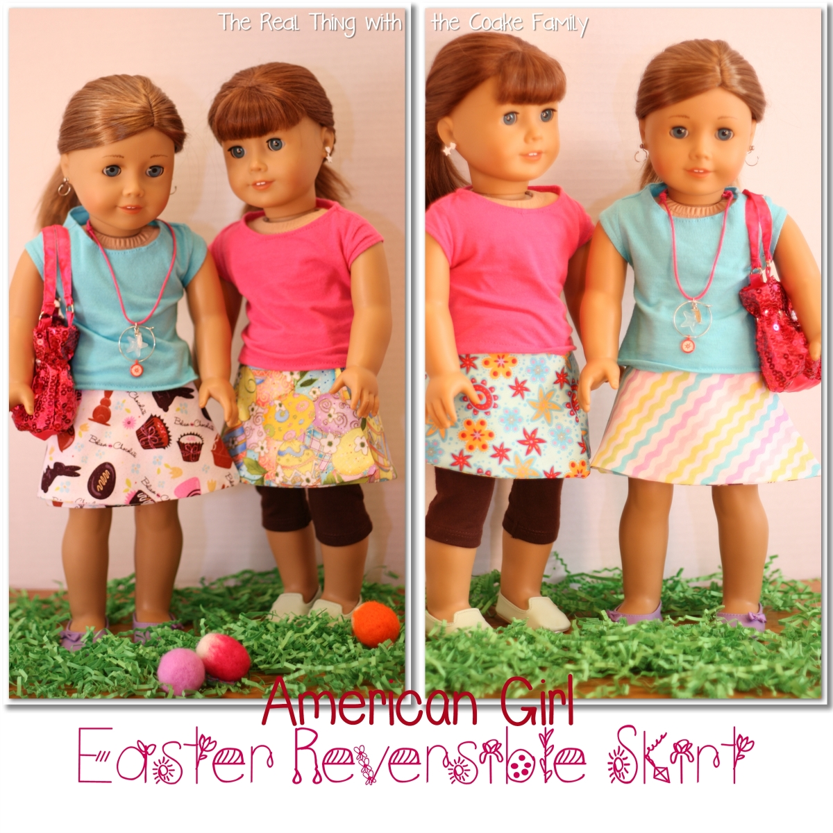 Free Doll Clothes Pattern Easter Reversible Skirt The