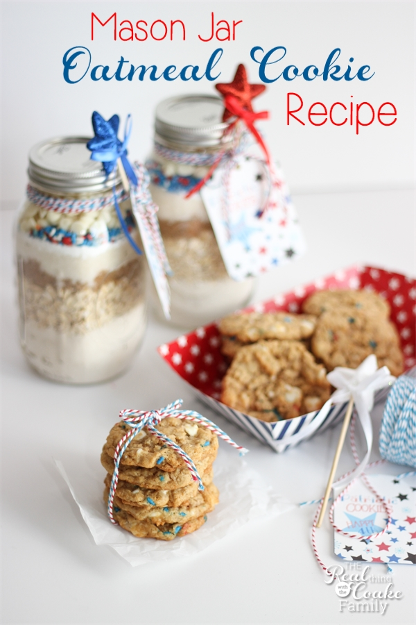 Adorable and Patriotic Oatmeal Cookie Recipe in a Mason
