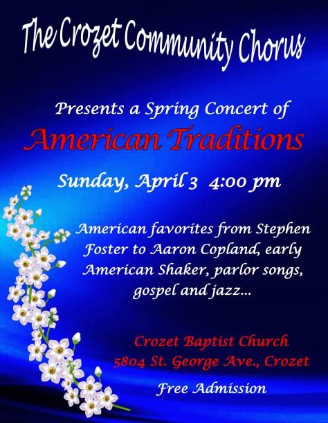 Crozet community Chorus - Spring Poster