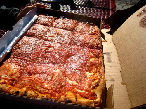 Square Sicilian Slices from L&B Spumoni Gardens in Bensenhurst, Brooklyn NY - photo by Adam Kuban