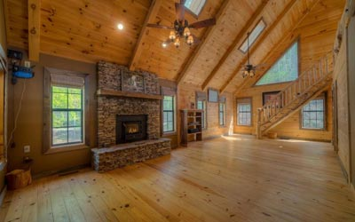 Knotty pine walls and floors
