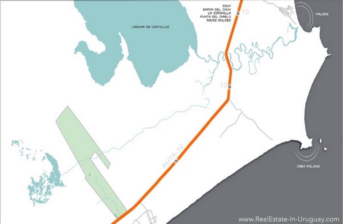 1000 Ha Chacra near Cabo Polonia - Lot Plan