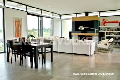 Modern Home in the Gated Community Altos De Dining Room of La Tahona near Montevideo
