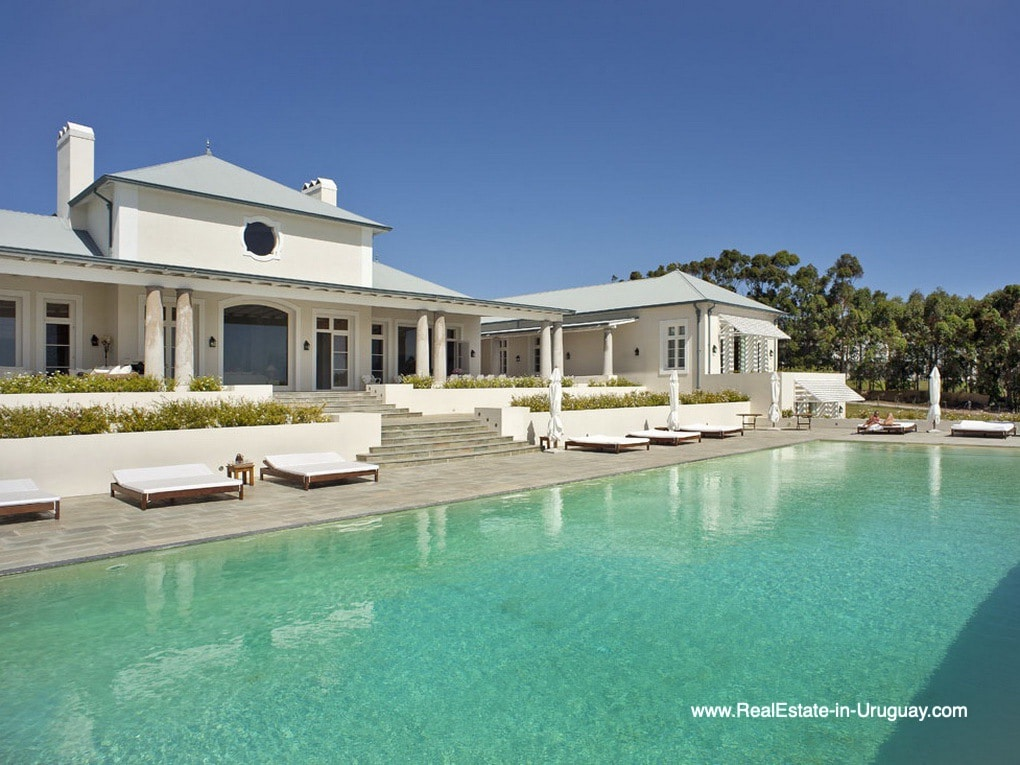 Pool Area of Luxury Country Ranch by Golf Course La Barra outside Punta del Este