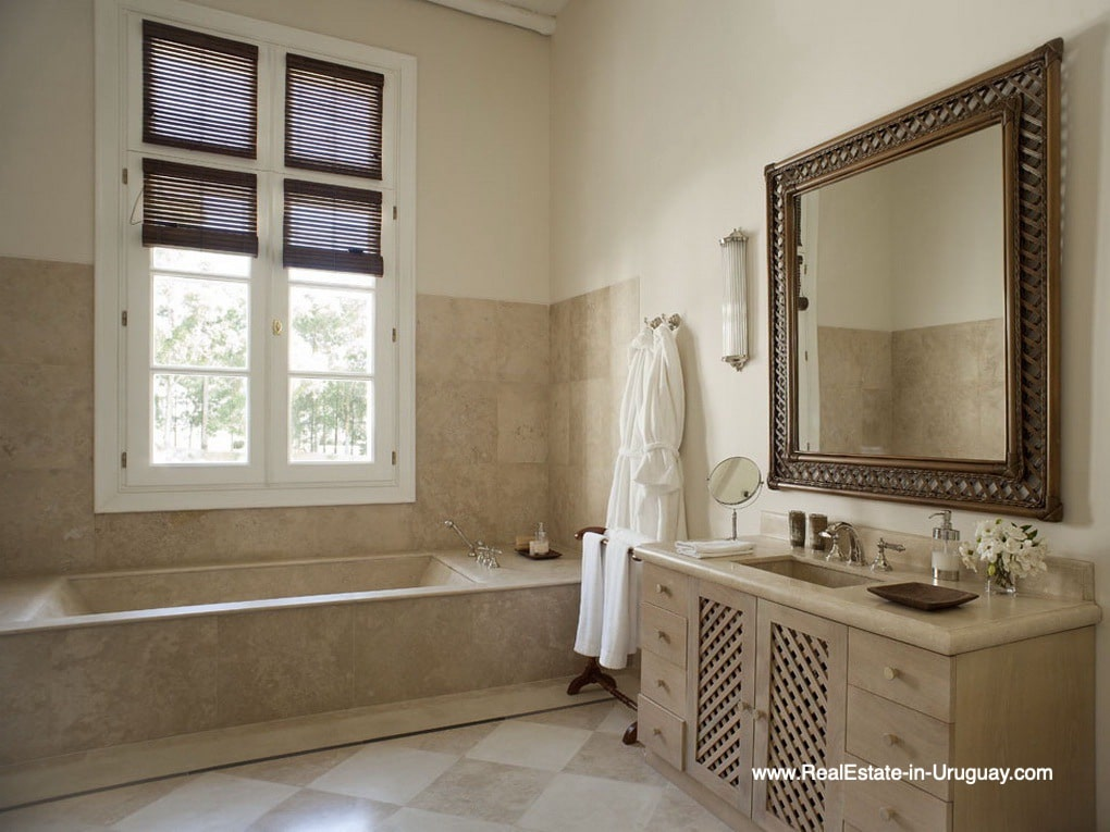 Master Bathroom of Luxury Country Ranch by Golf Course La Barra outside Punta del Este