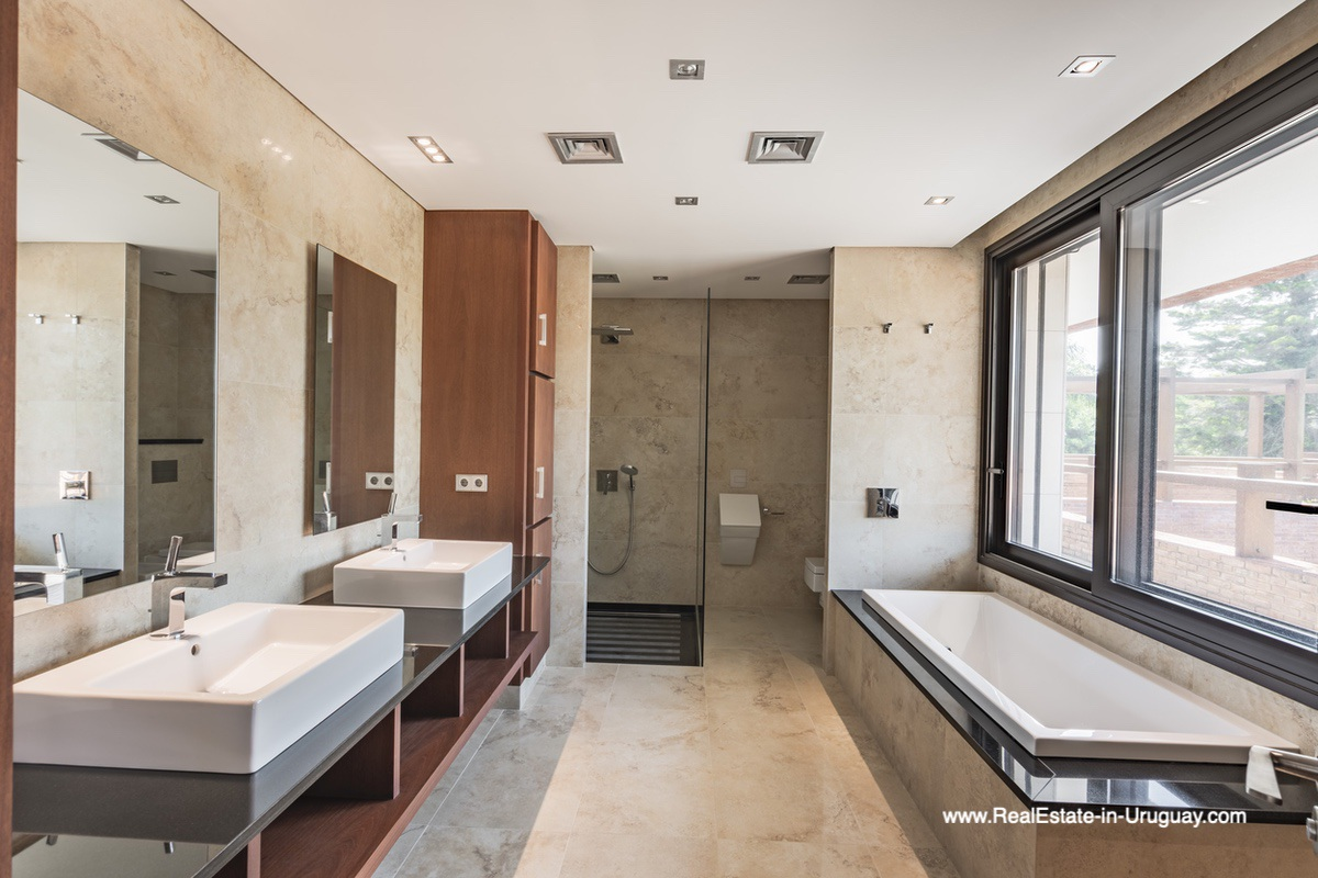 Master Bathroom of High-Tech State of the Art and Modern Estate on the Brava Beach in Punta del Este with a large Garden