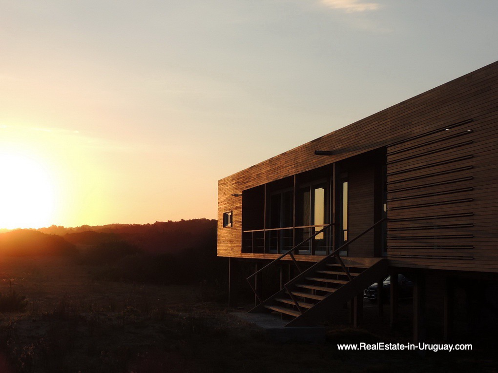 Sunset of Frontline Beach Home in San Antonio close to La Pedrera in Rocha