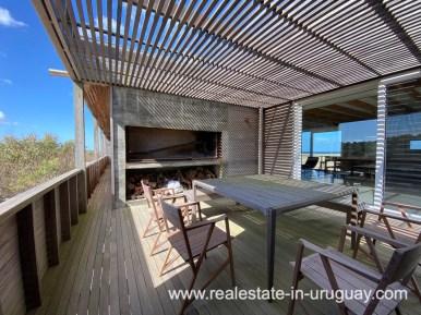 BBQ of Frontline Beach Home in San Antonio close to La Pedrera in Rocha with Sea Views
