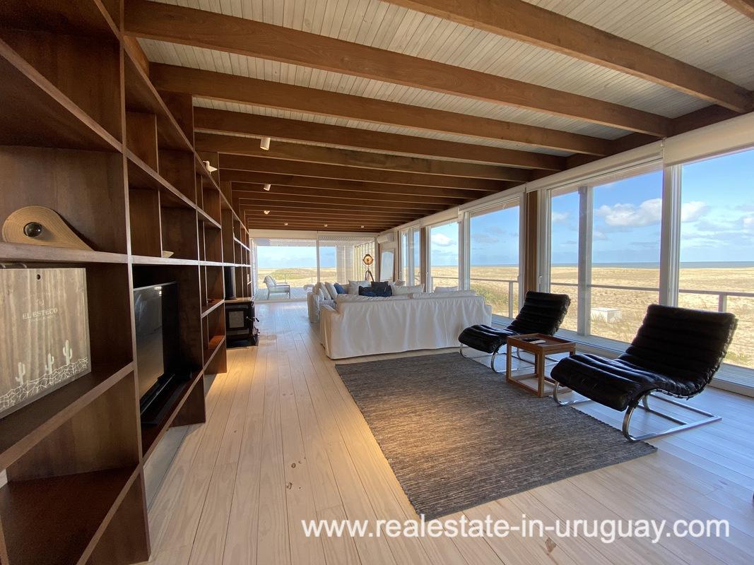 Living Area of Frontline Beach Home in San Antonio close to La Pedrera in Rocha with Sea Views