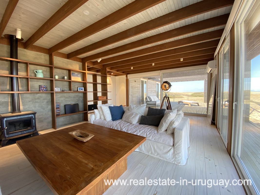 Living Room of Frontline Beach Home in San Antonio close to La Pedrera in Rocha with Sea Views
