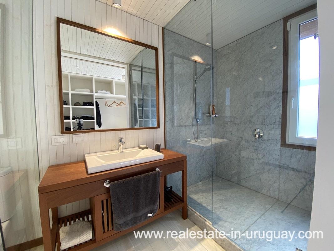 Shower of Frontline Beach Home in San Antonio close to La Pedrera in Rocha with Sea Views