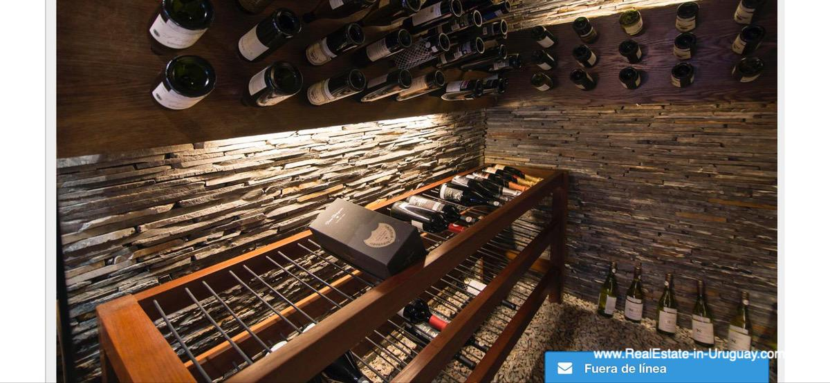 Wine Cellar of Modern High-Tech Home in Laguna Blanca by Manantiales