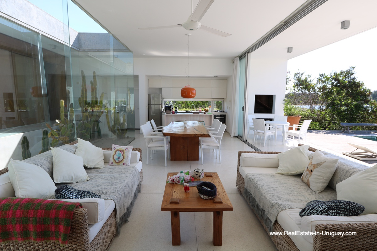 Living and Dining area of Modern Home in Santa Monica near Jose Ignacio on the Lagoon