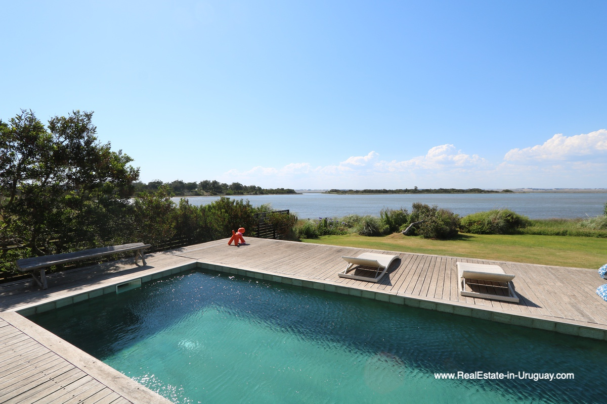 Lagoon view and Pool of Modern Home in Santa Monica near Jose Ignacio on the Lagoon