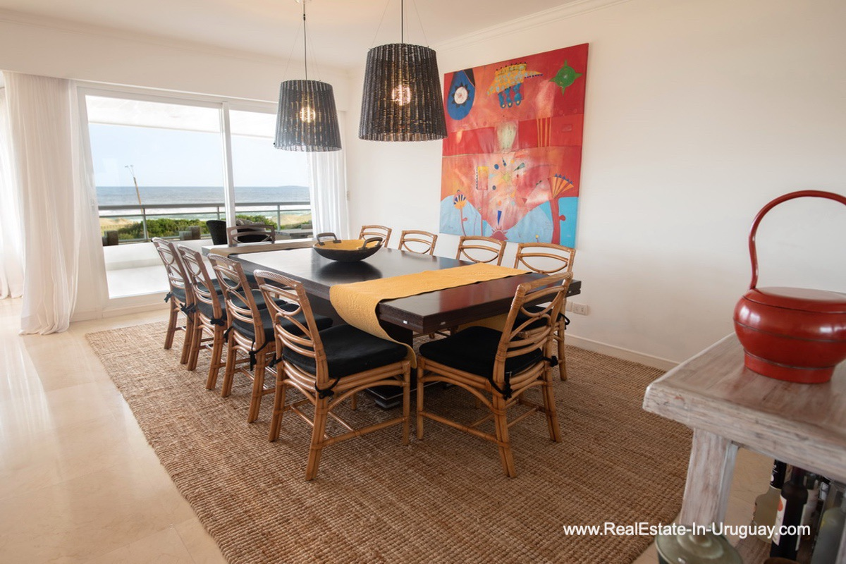 Dining Room of Spacious Apartment on the Brava in Punta del Este