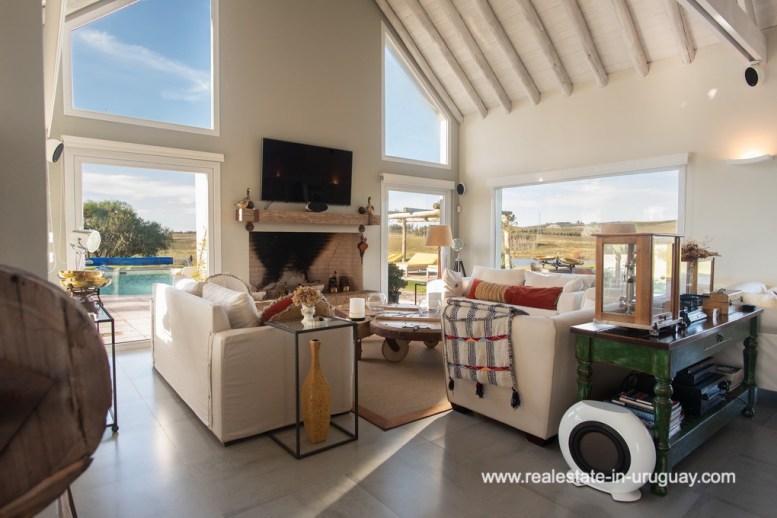 Living Room of Country Home near Laguna del Sauce by Punta del Este