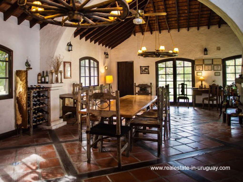 Dining Room of Large Touristic Ranch in the Countryside of Uruguay