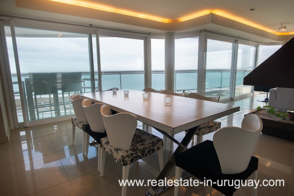 Dining Area of Modern Large Penthouse on the Mansa in Punta del Este